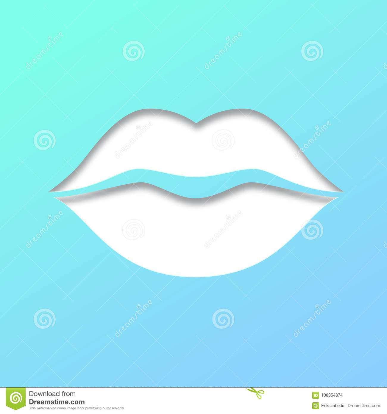 contour of lips cut from paper on white background outline icon of