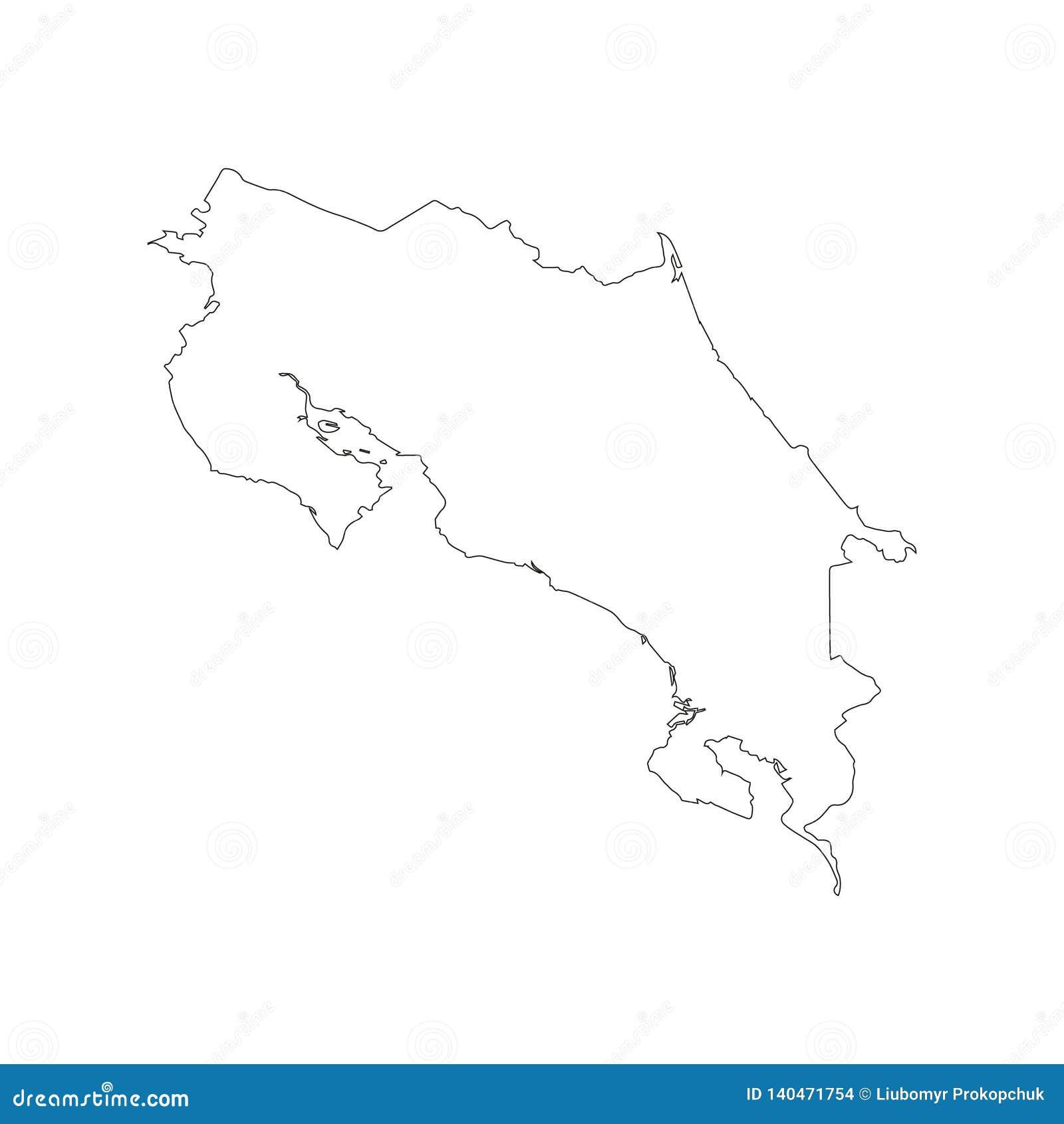 Contour noir de carte de Costa Rica