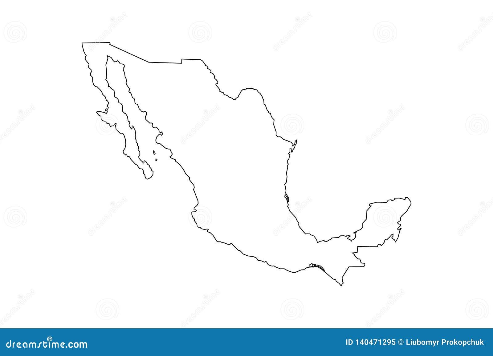 Contour noir de carte du Mexique