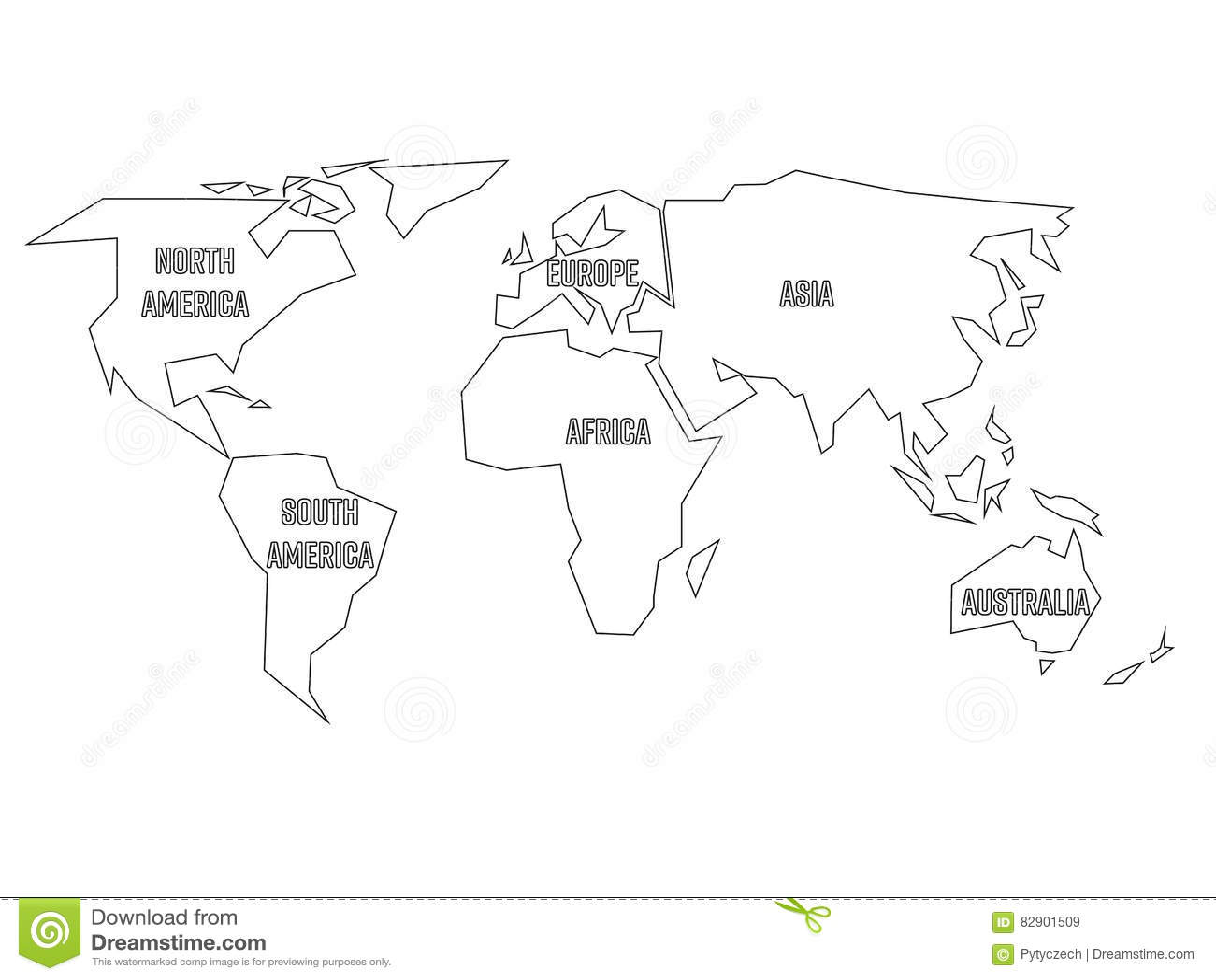 contour noir simplifi de carte du monde divis six continents illustration plate simple de. Black Bedroom Furniture Sets. Home Design Ideas