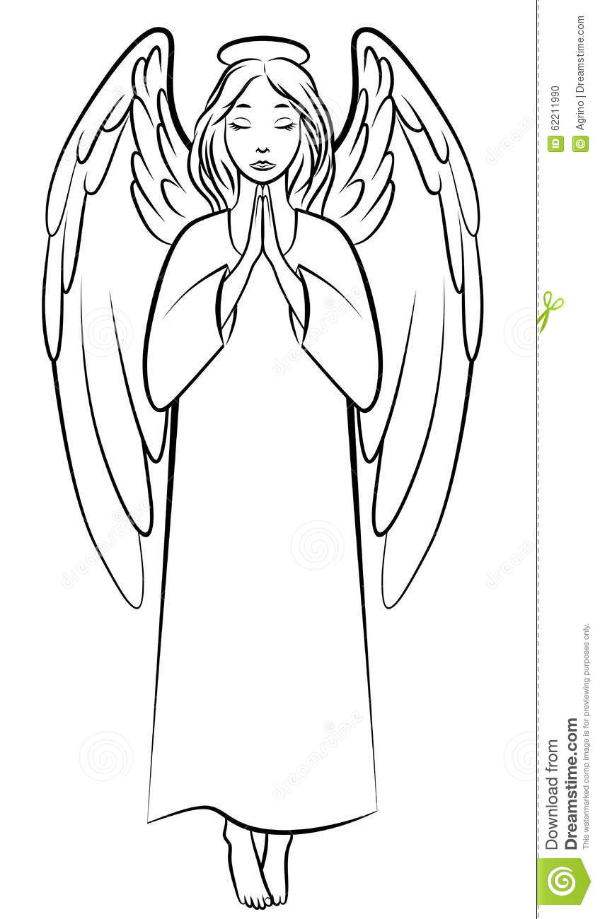 Contour Praying Angel Stock Vector - Image: 62211990