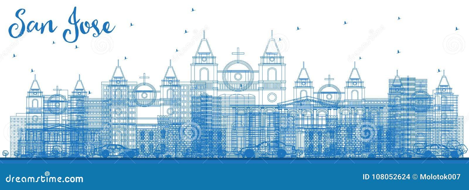 Contour San Jose Costa Rica Skyline avec les bâtiments bleus