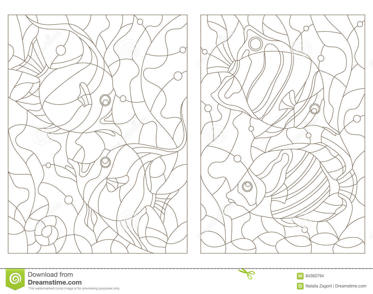 Contour Set Of Illustrations Of Stained Glass With Aquarium Fish ... c5380ceab