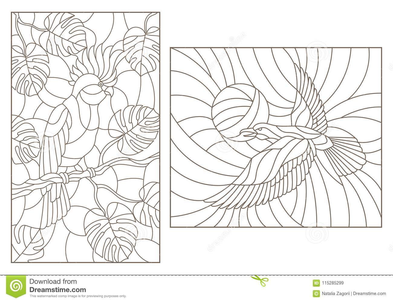 Contour set with illustrations of stained glass with birds, a parrot on the branches of plants and the crows against the sky , da