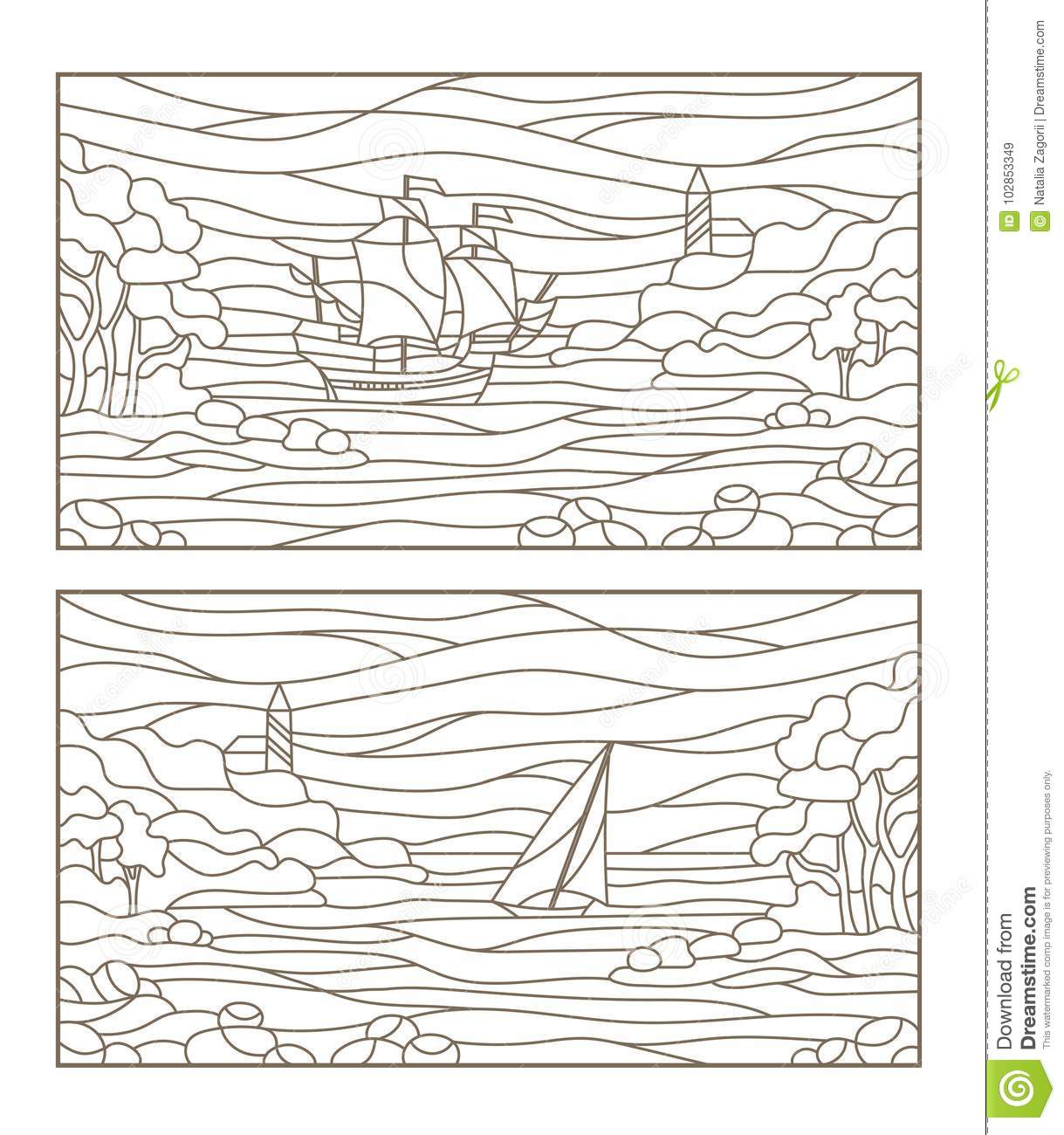 Contour set with illustrations of stained glass seascapes,sailing ship and the lighthouse in rocky Bay on the background of sea