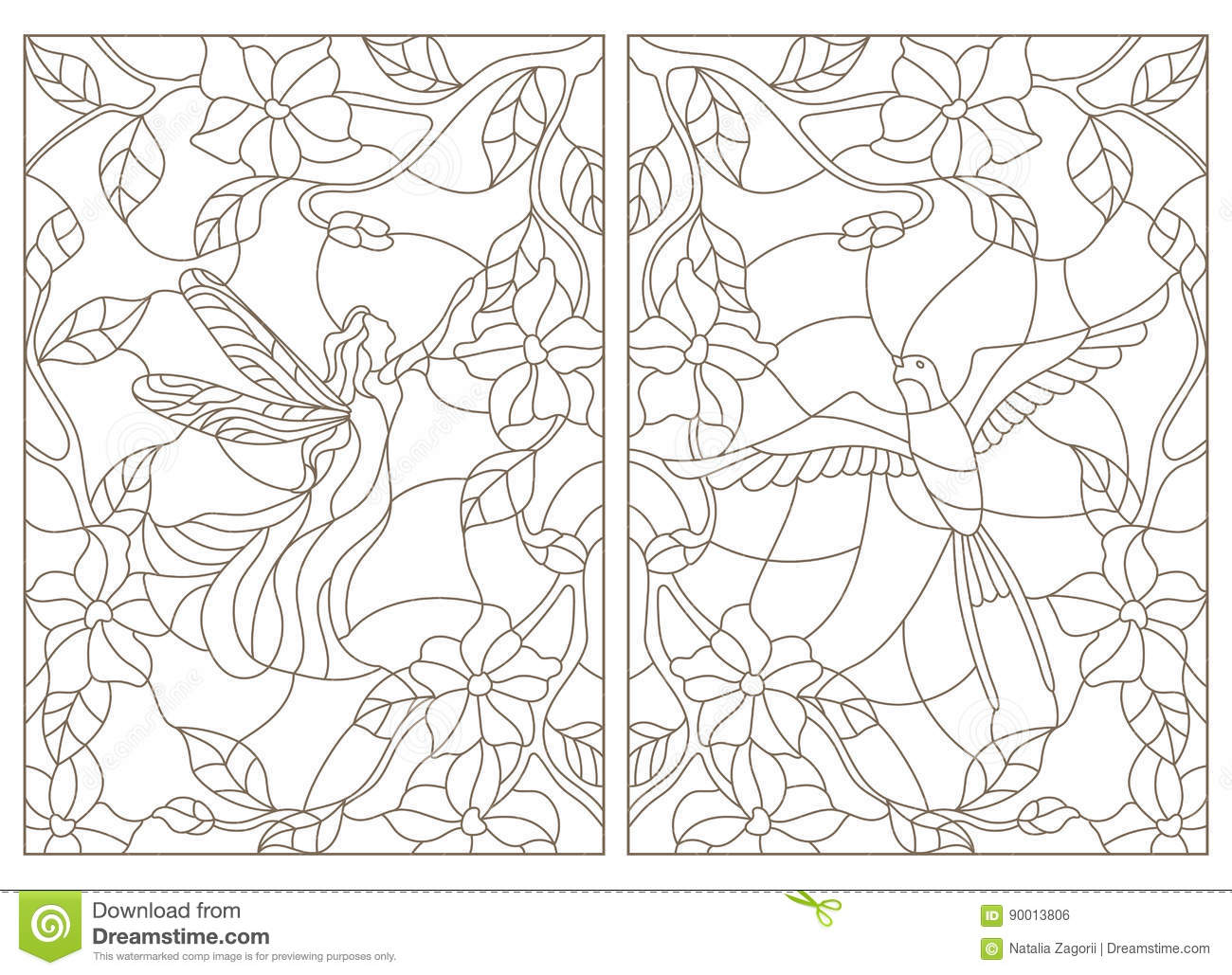 Contour Set Of Illustrations In The Stained Glass Style Bird And