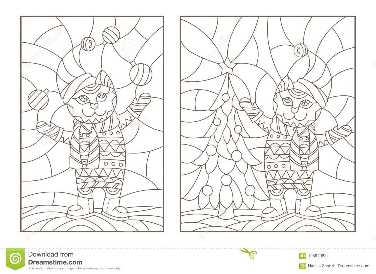 Contour Set With Illustrations Of The Stained Glass Windows