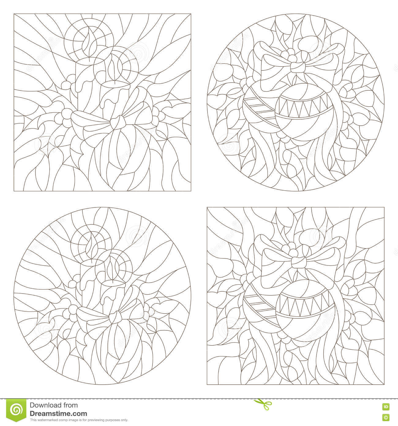 contour set of illustrations of the stained glass windows on the theme of new year and