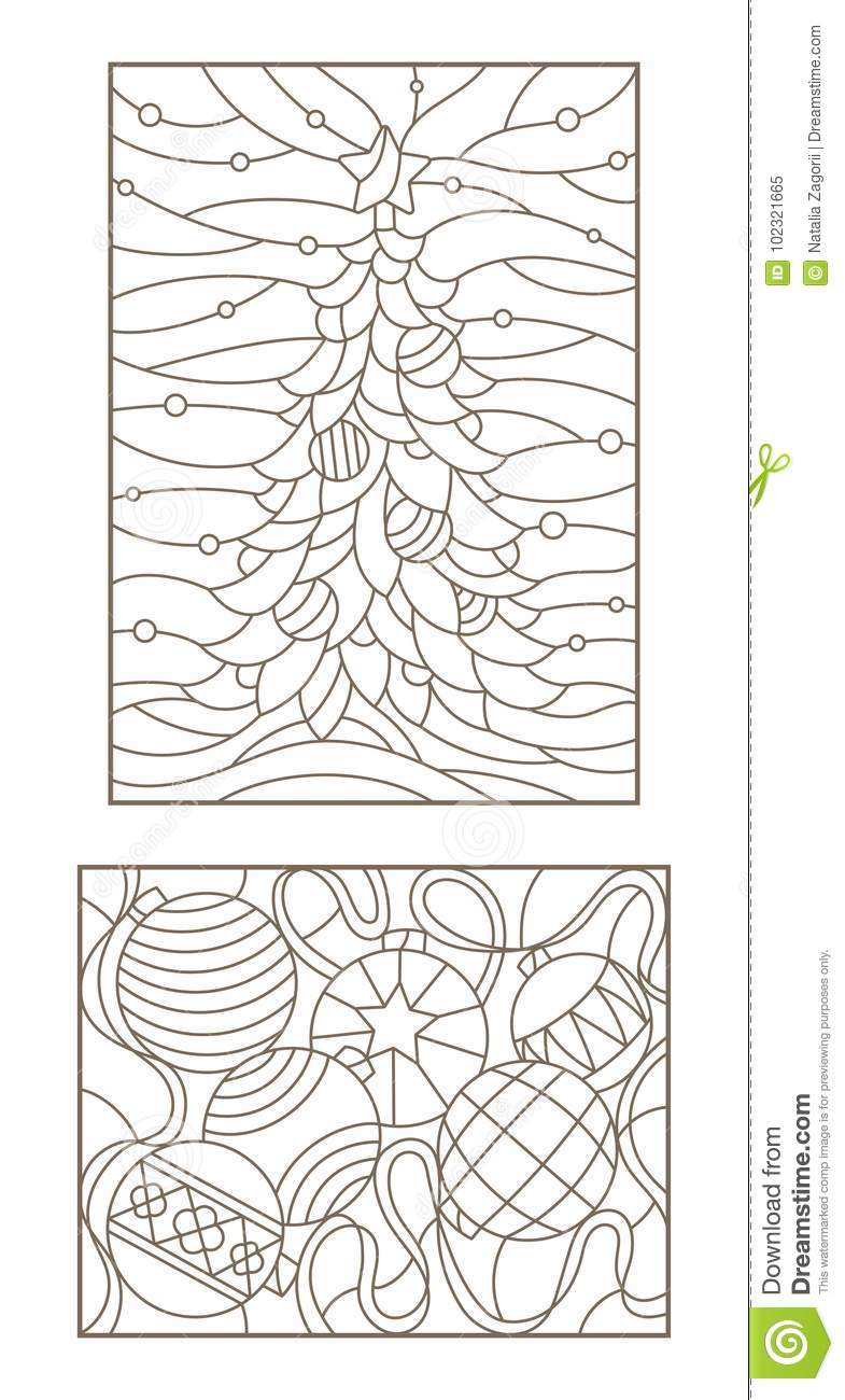 contour set with illustrations of the stained glass windows on the theme of new year and