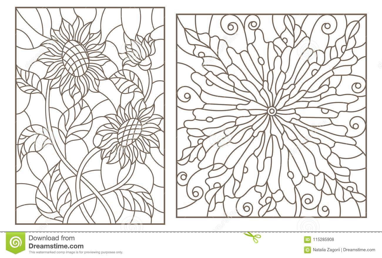 Contour Set With Stained Glass Illustrations With Flowers