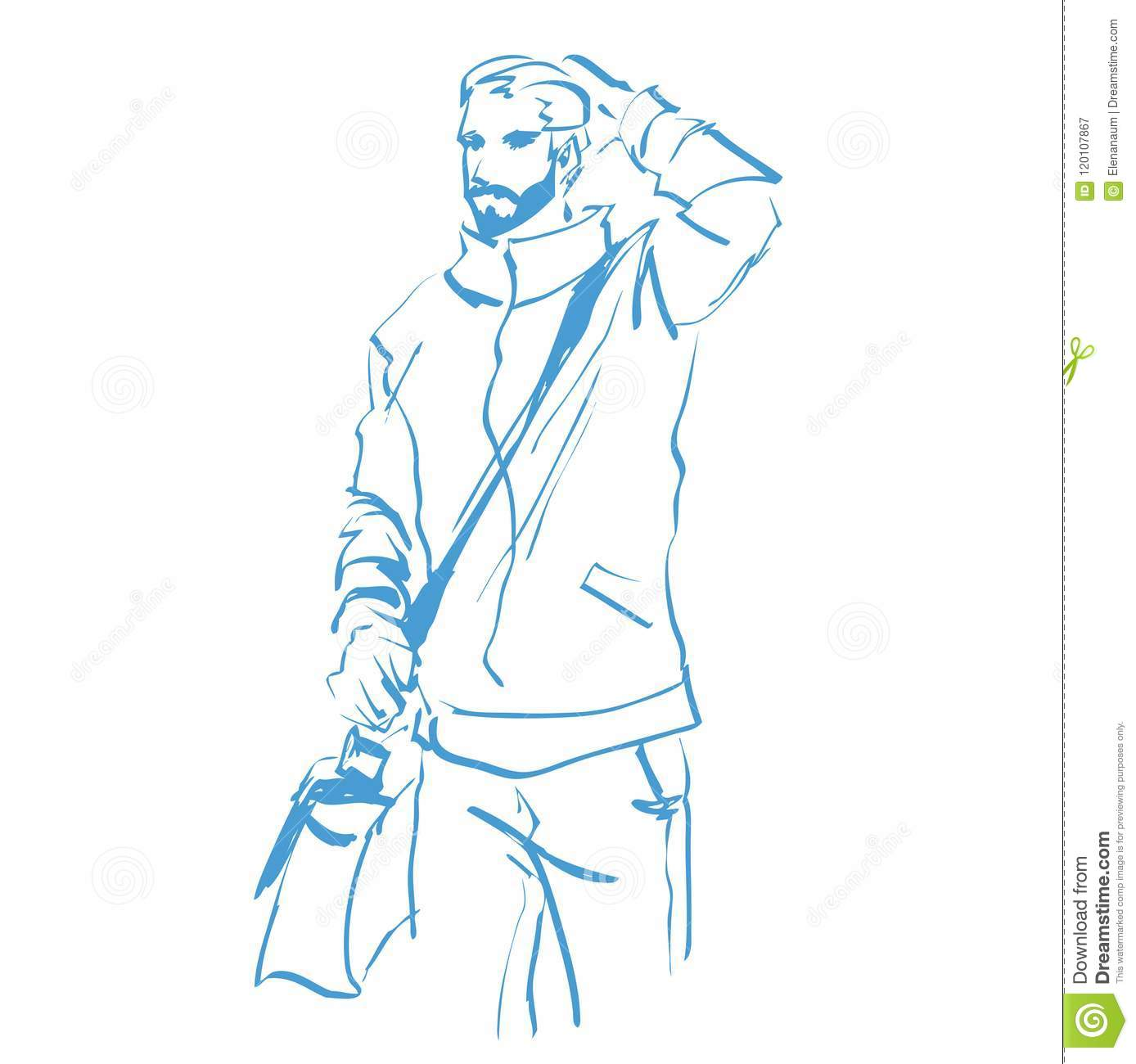 Contour silhouette of handsome fashionable man at full length standing person in casual fashion clothes vector hand drawing logo