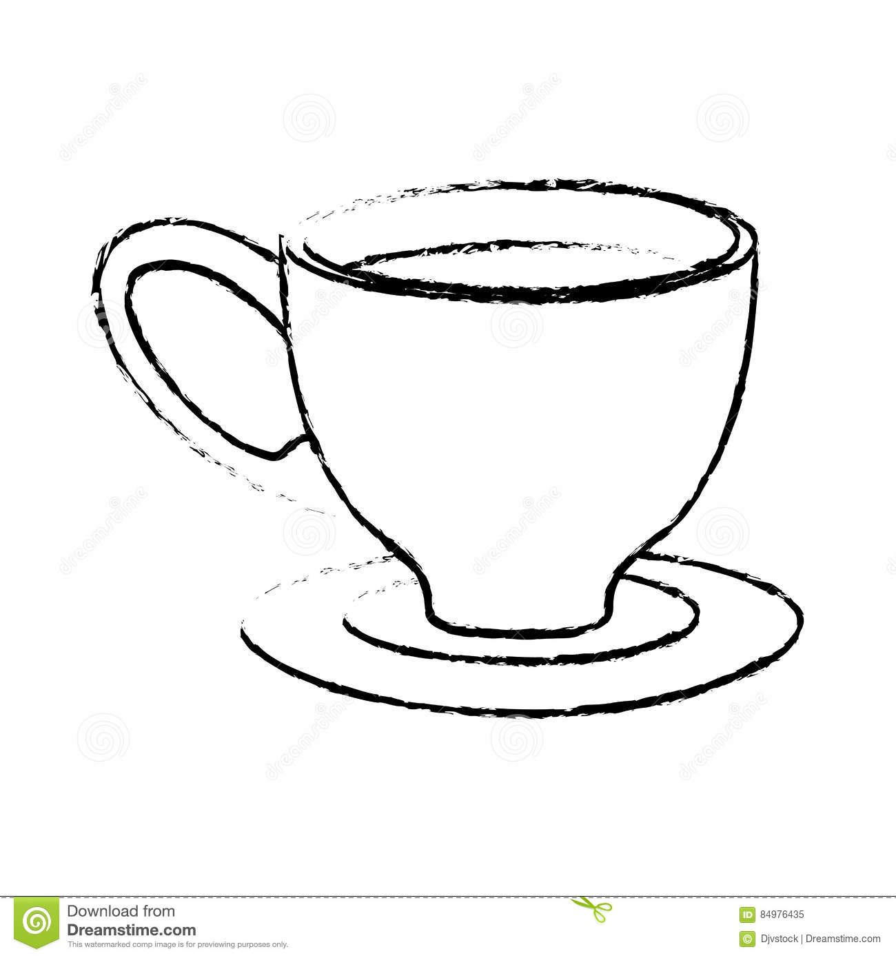 Contour Small Coffee Cup And Saucer Stock Illustration Illustration Of Aromatic Beverage 84976435