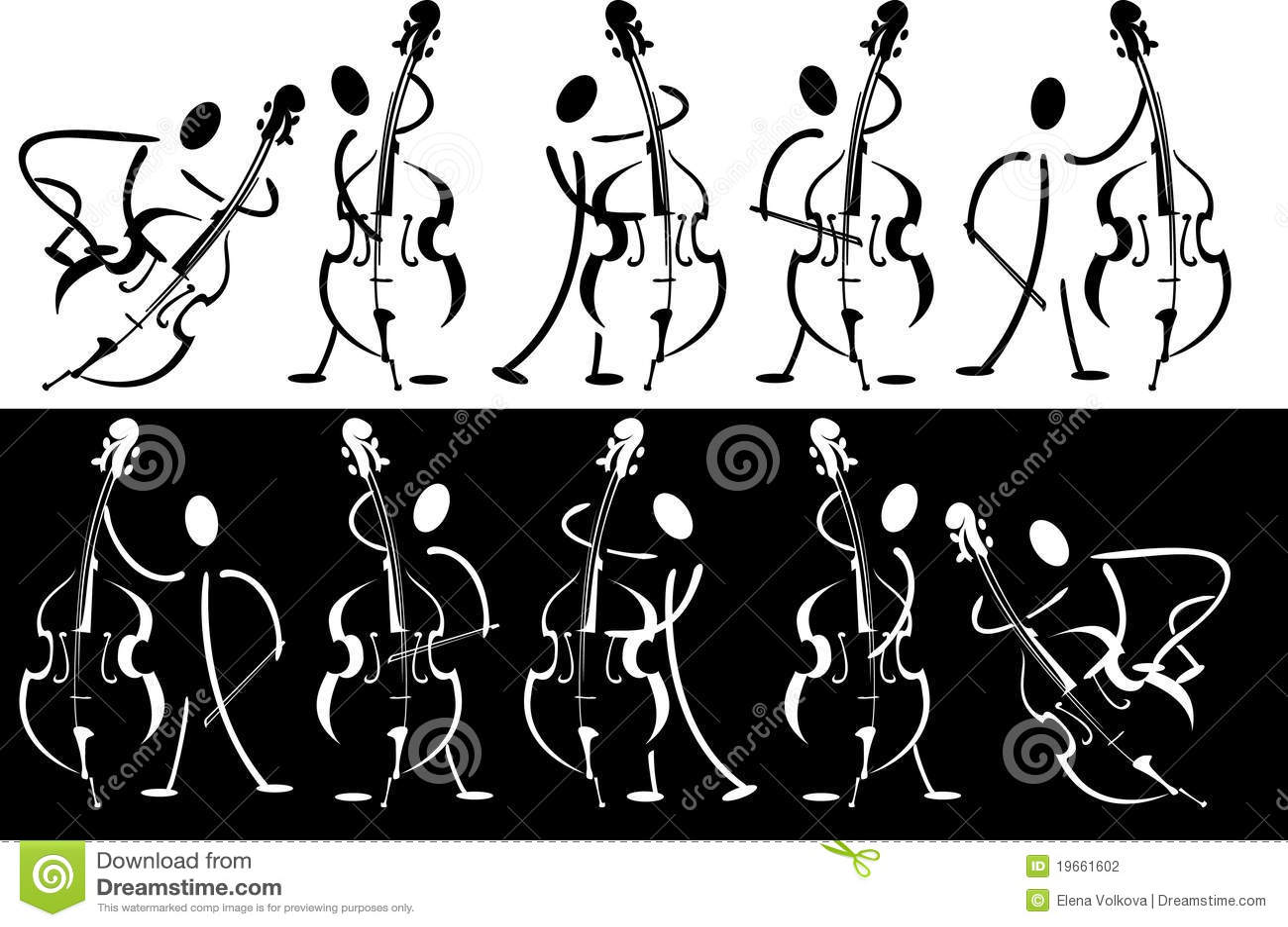 Contour van de musicus die op het instrument speelt