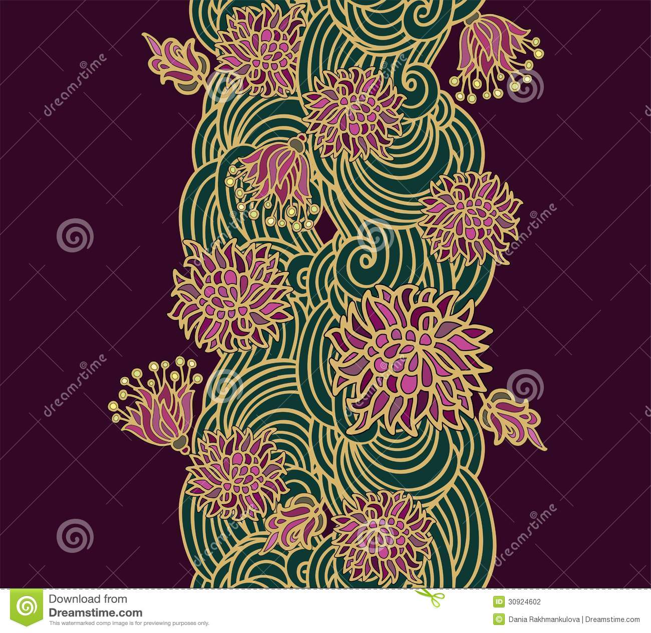 Contoured Floral Border Composition In Japanese Style