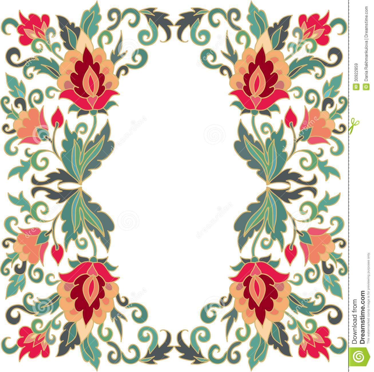 Contoured Floral Frame Composition In Turkish Style Stock