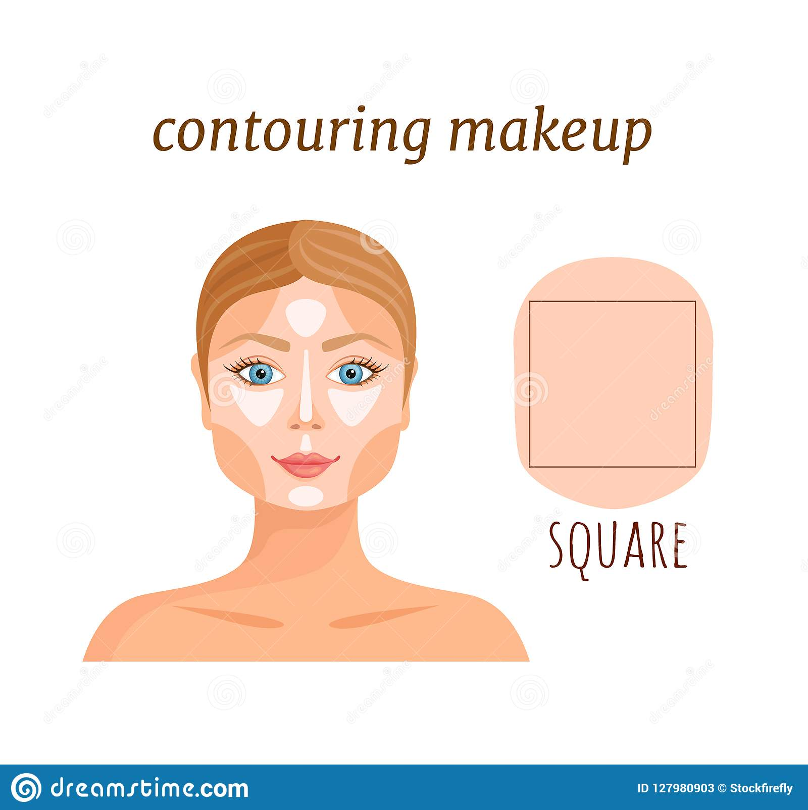 Contouring Guide For A Square Face. Vector. Stock Vector