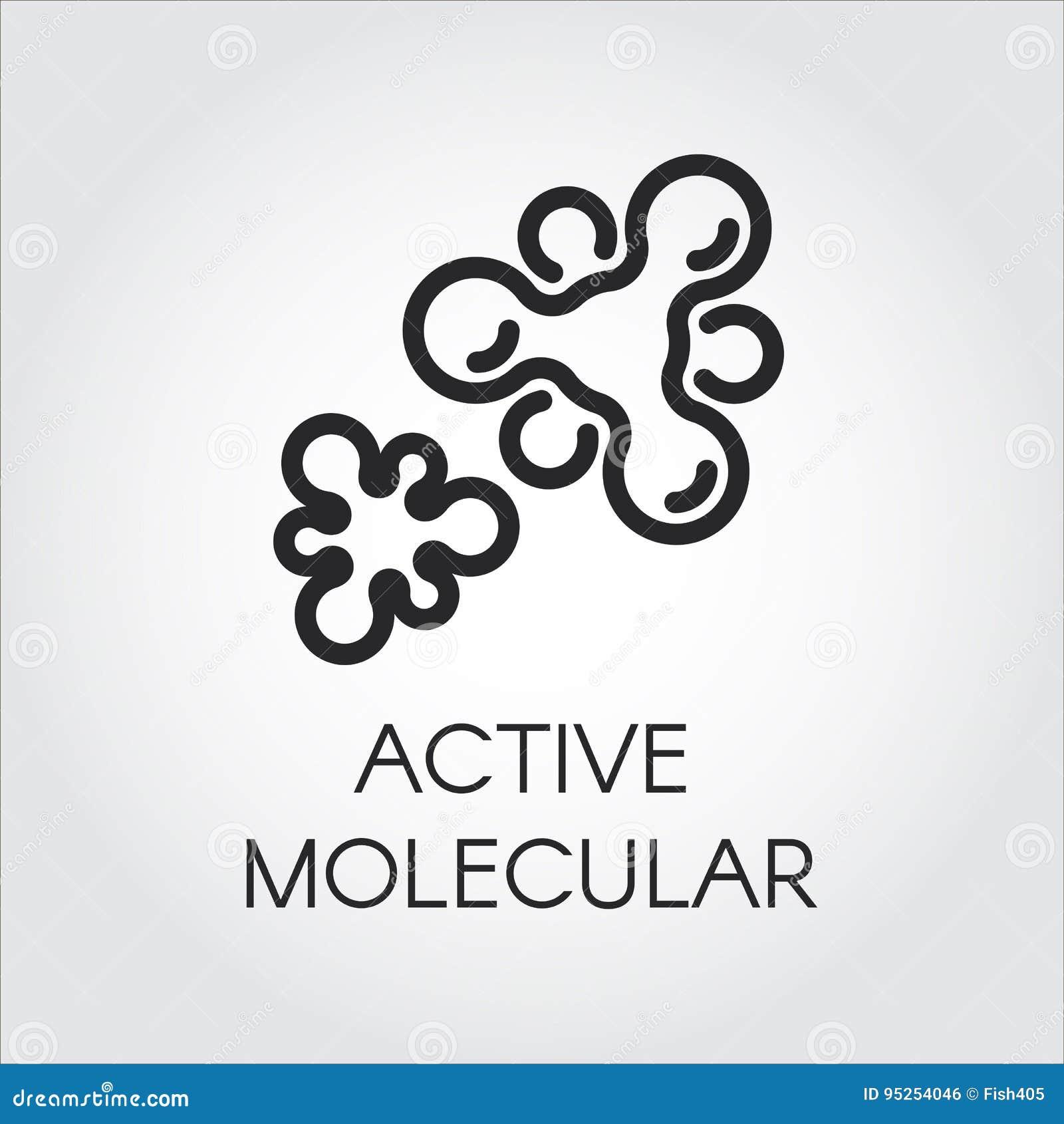 Contourpictogram van actieve moleculaire structuur Embleem in overzichtsstijl Zwart beeldschriftteken voor studie, wetenschap, ge
