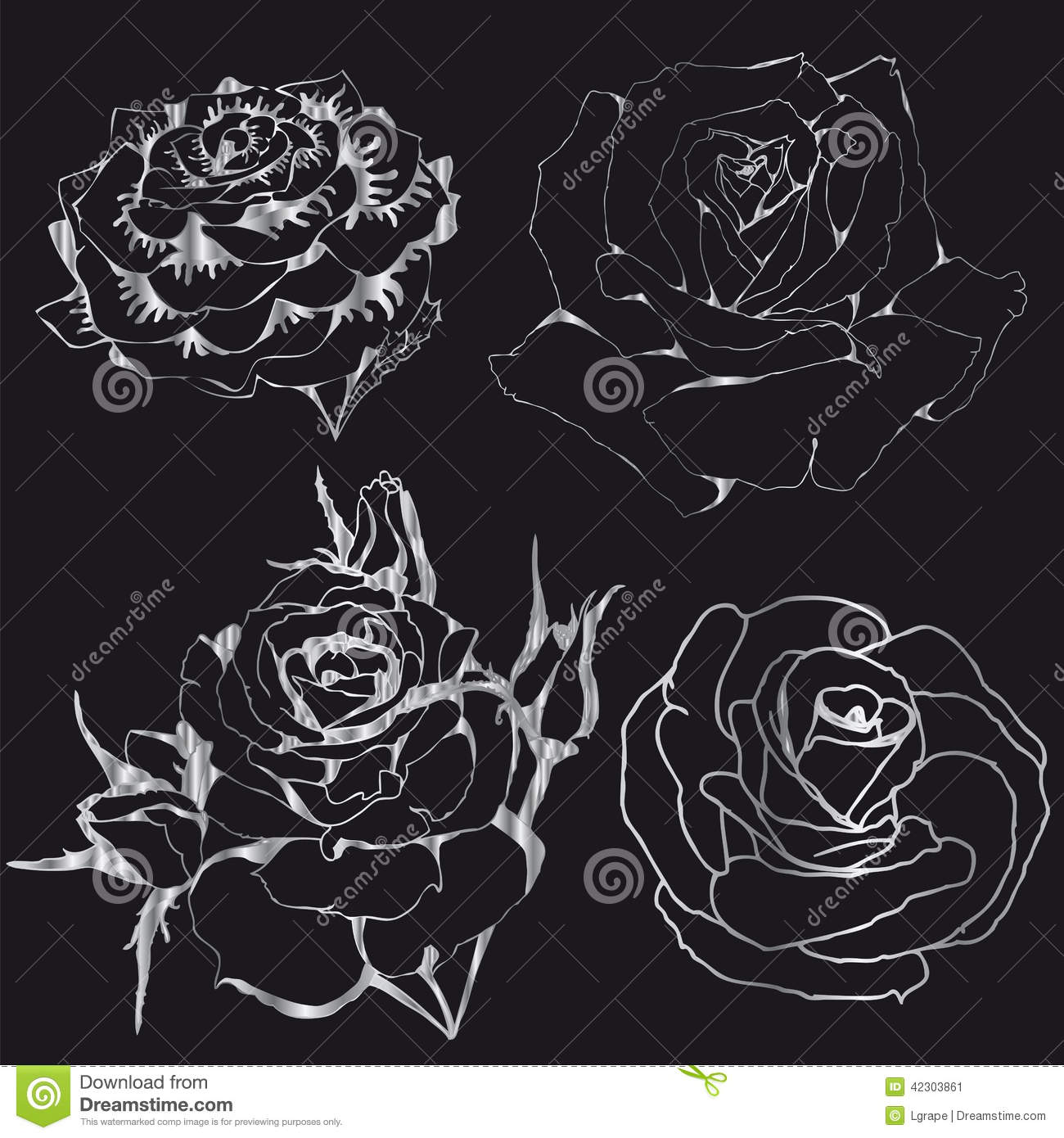 Contours Silver Roses On A Black Background