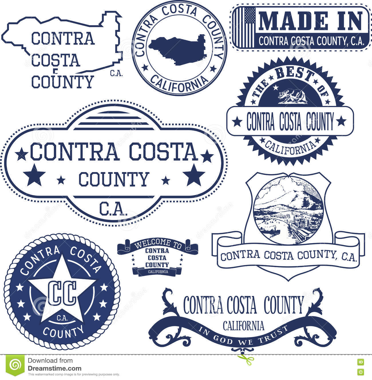 Image of: Contra Costa County Ca Set Of Stamps And Signs Stock Vector Illustration Of California Mark 79659514