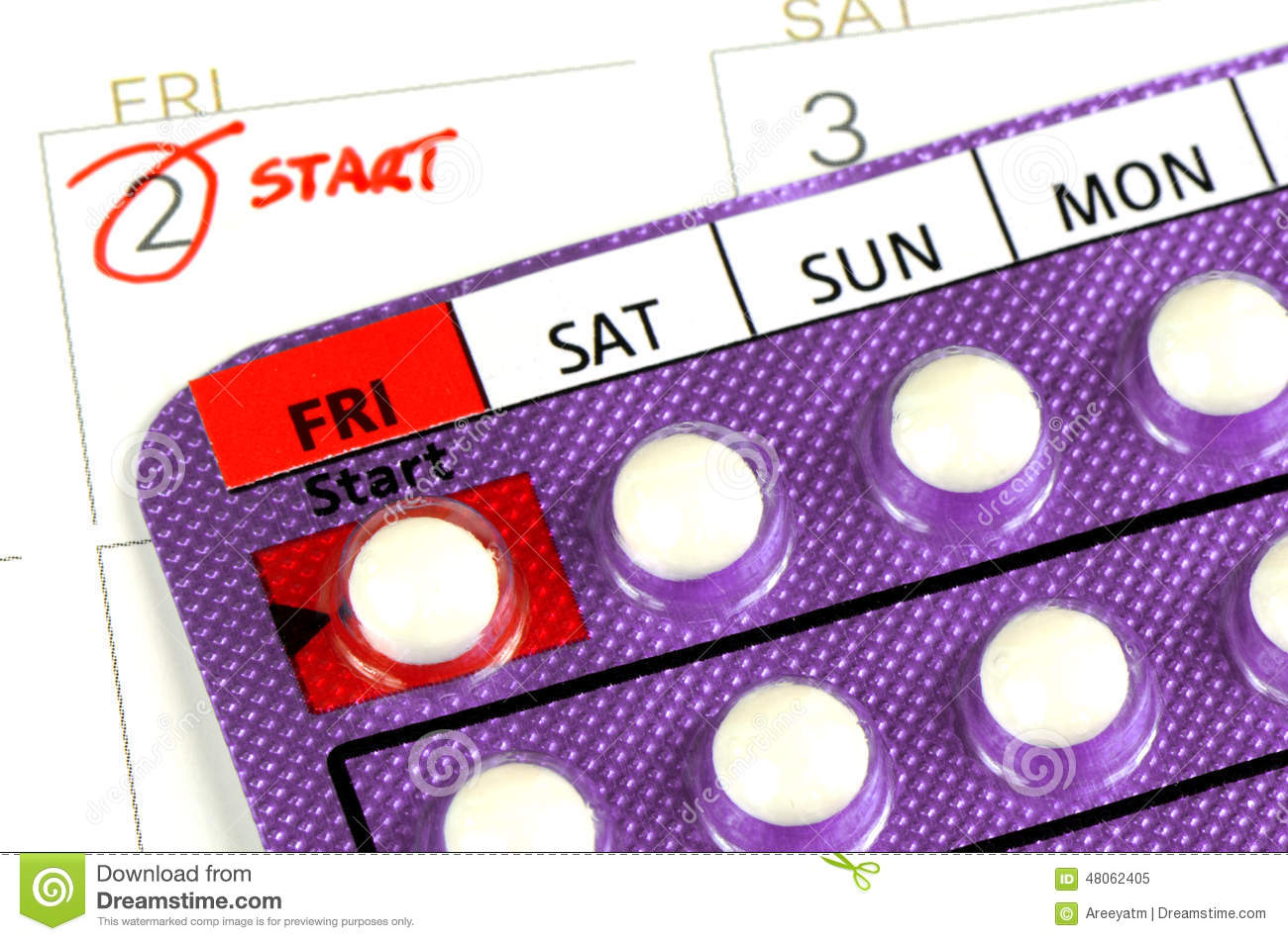 Contraceptive Pill On The Calendar. Stock Photo - Image: 48062405