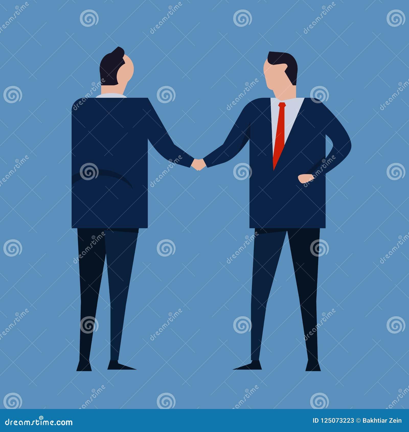 Contract Agreement Business People Standing Handshake Wearing Suite