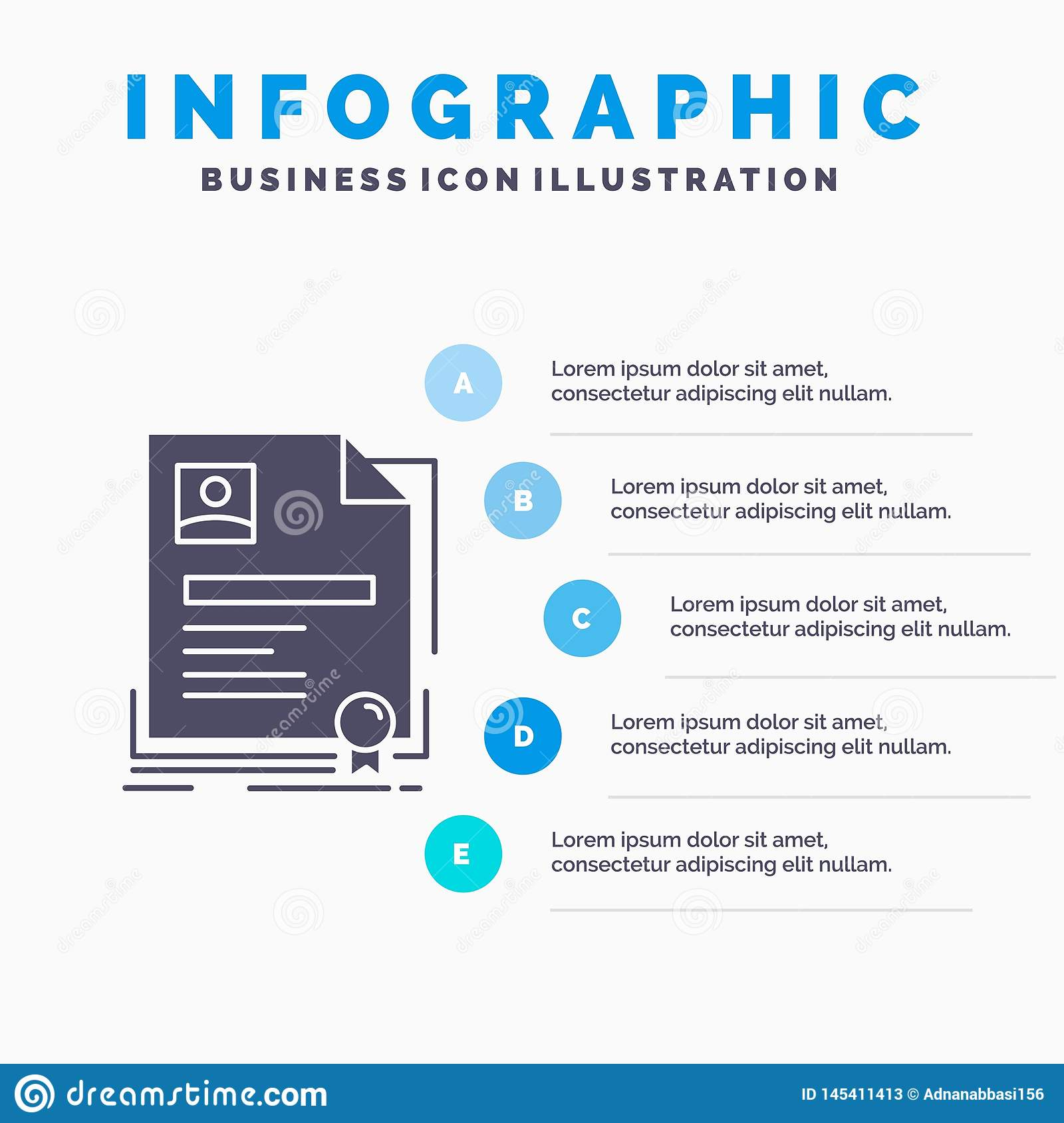 Contract, badge, Business, agreement, certificate Infographics Template for Website and Presentation. GLyph Gray icon with Blue