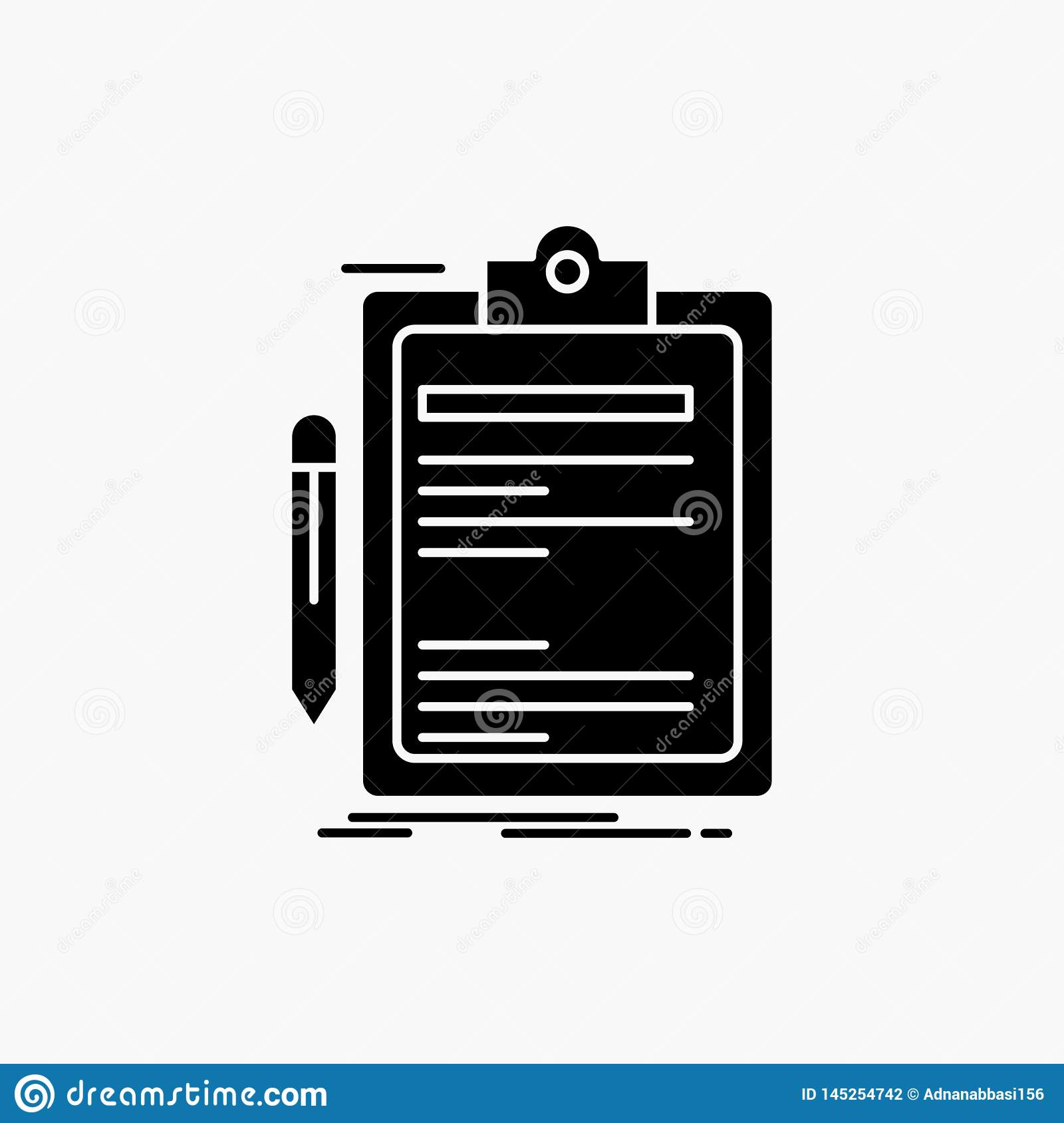 Contract, check, Business, done, clip board Glyph Icon. Vector isolated illustration