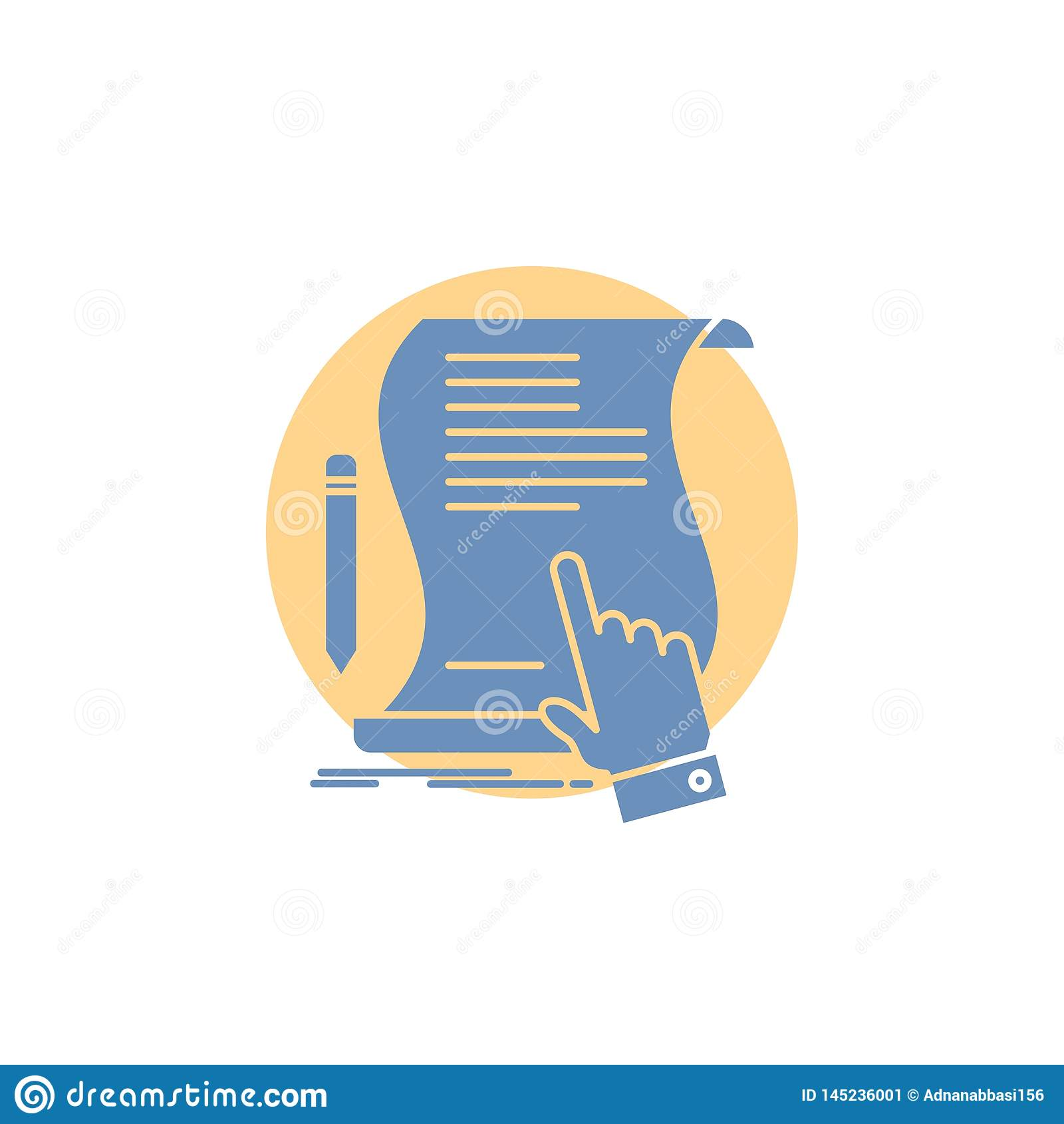 contract, document, paper, sign, agreement, application Glyph Icon