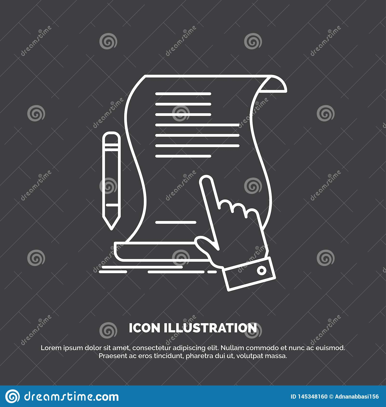 contract, document, paper, sign, agreement, application Icon. Line vector symbol for UI and UX, website or mobile application