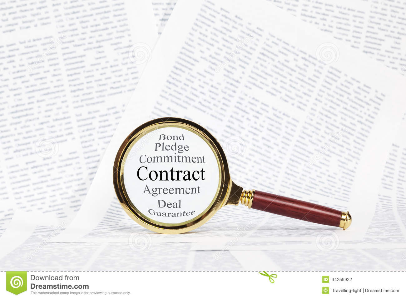 Contract And Magnifying Glass Concept. Royalty Free Stock Photo