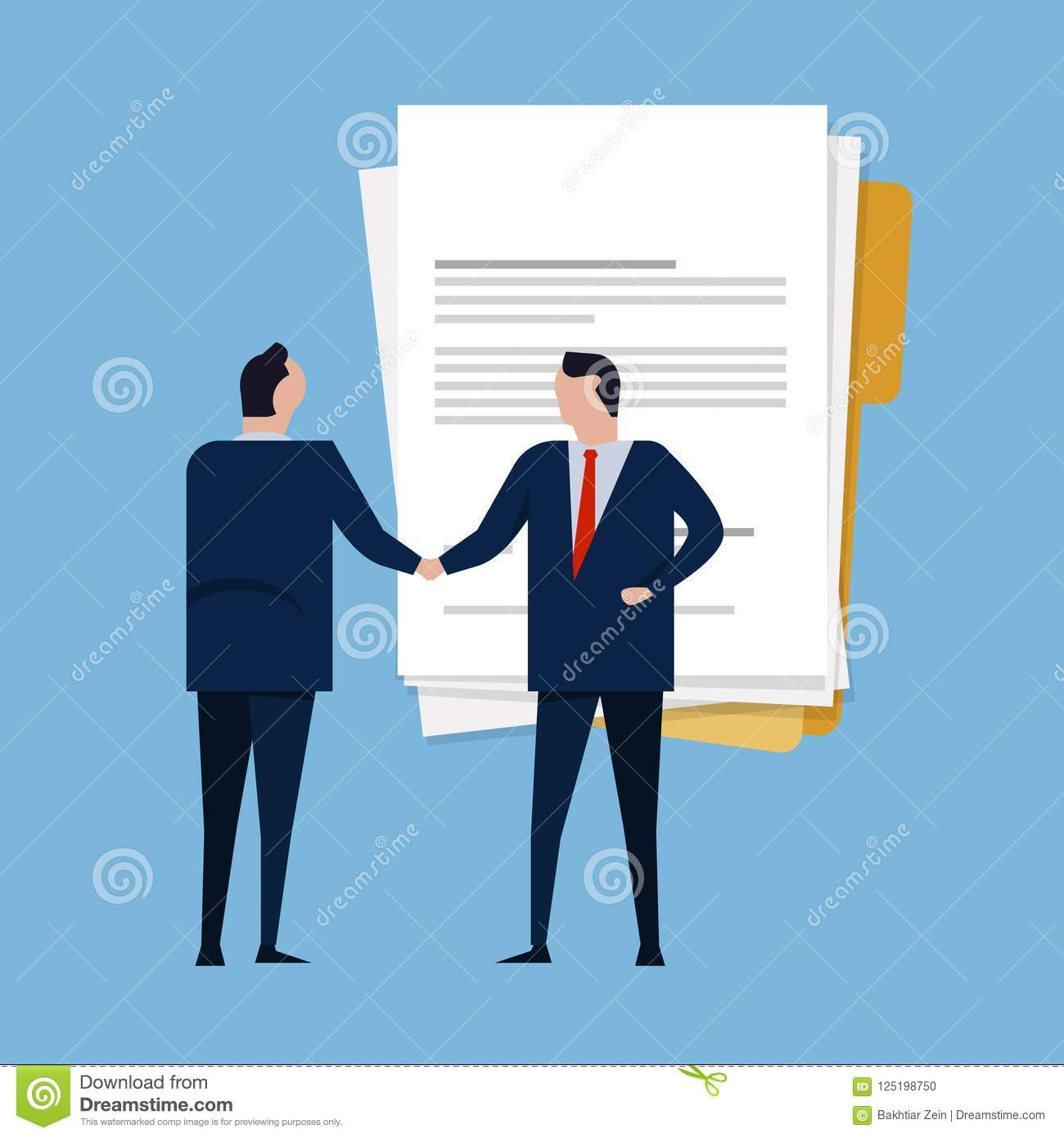 Contract paper document agreement. Business people standing handshake wearing suite formal. Concept business vector