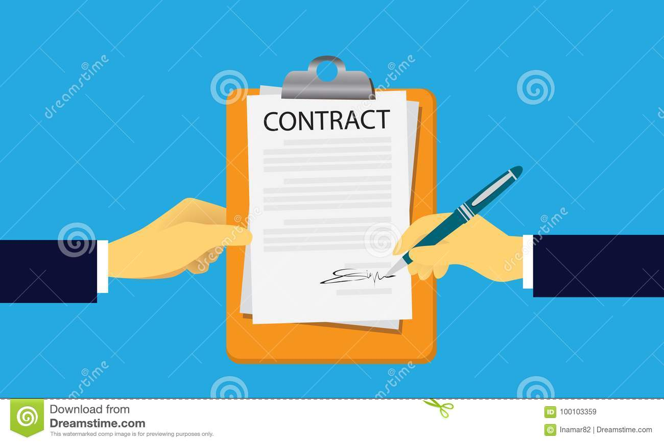 Contract Signing Legal Agreement Concept. Vector Illustration. Career,  Employment.