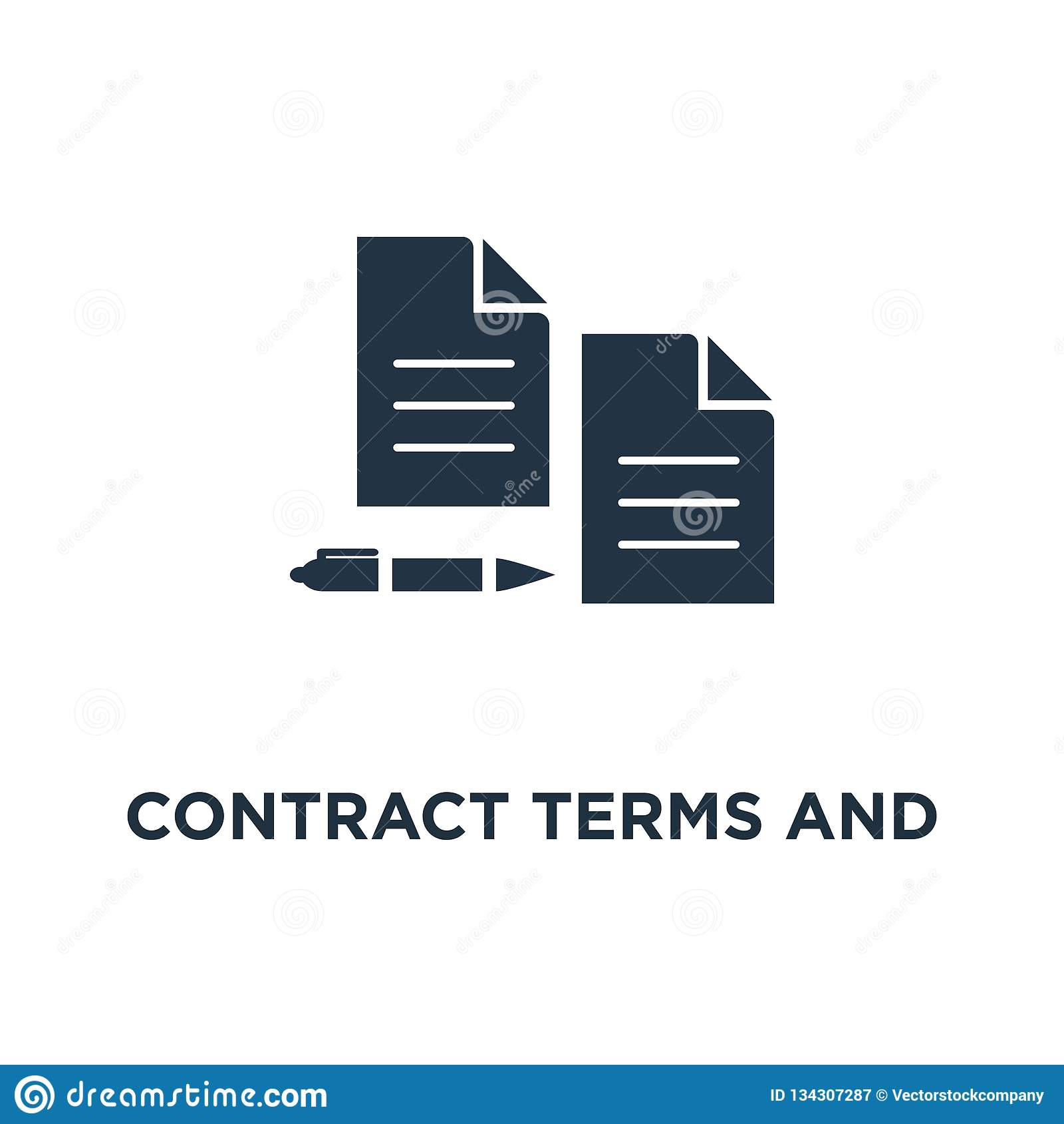 Contract Terms And Conditions Icon  Document Paper, Thin