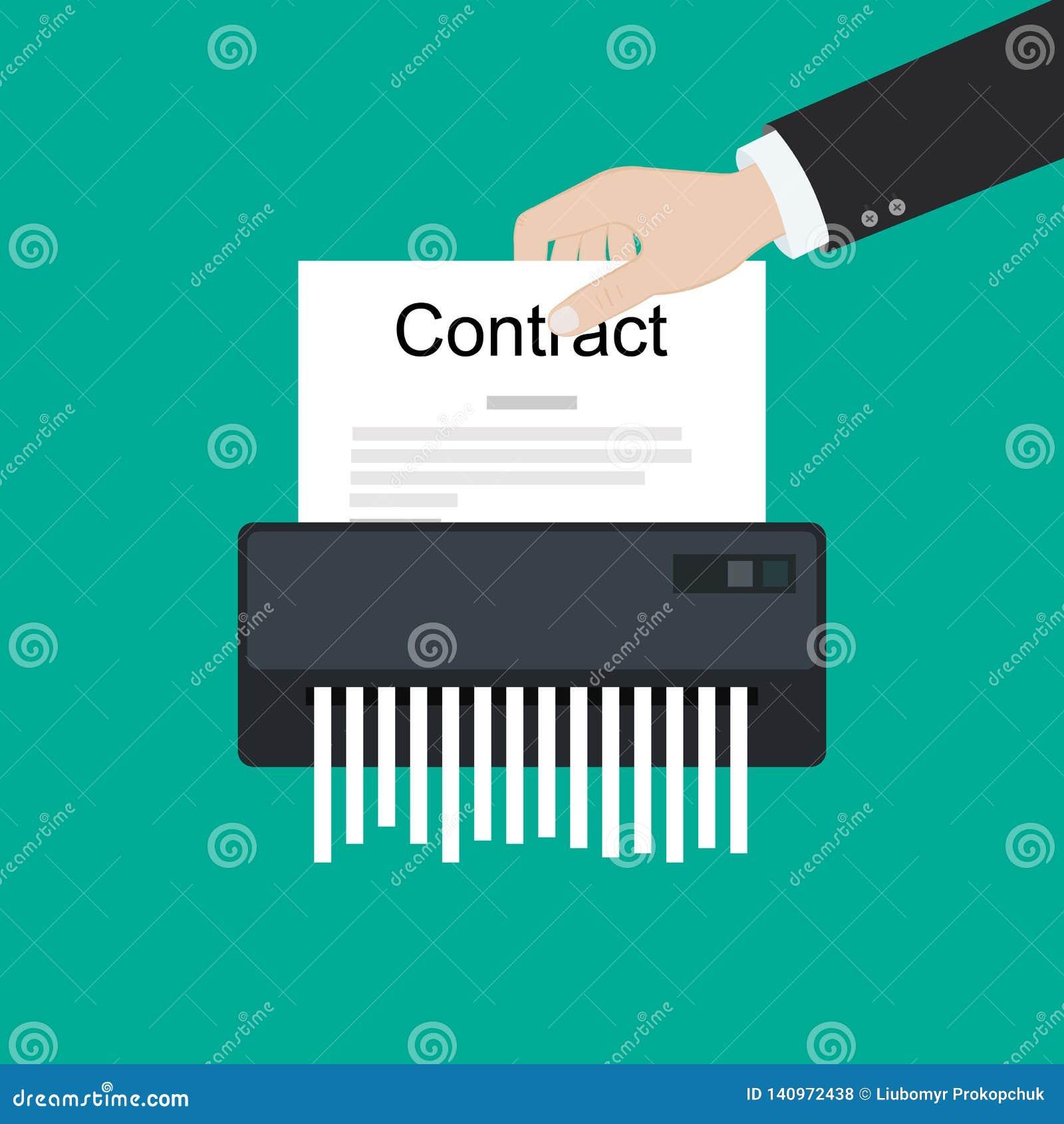 Contractez les affaires de société cassées par annulation du destructeur de papier d accord d échec aucune affaire