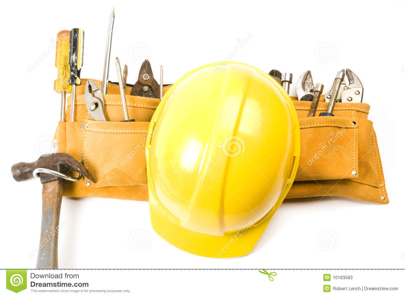 Contractor Builder Tool Belt Hard Hat Stock Photos Image