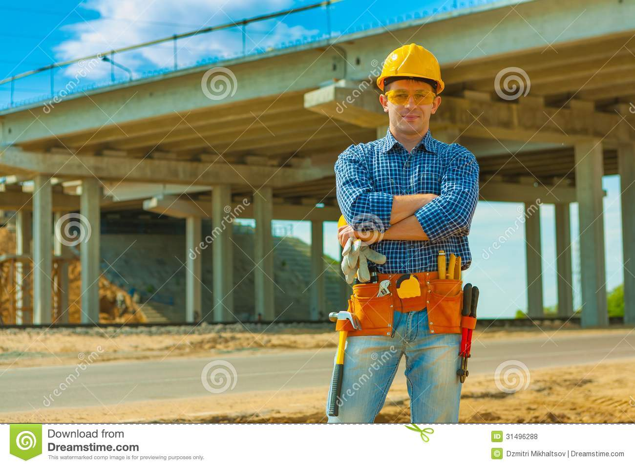 A Contractor On Building Place Royalty Free Stock Photos