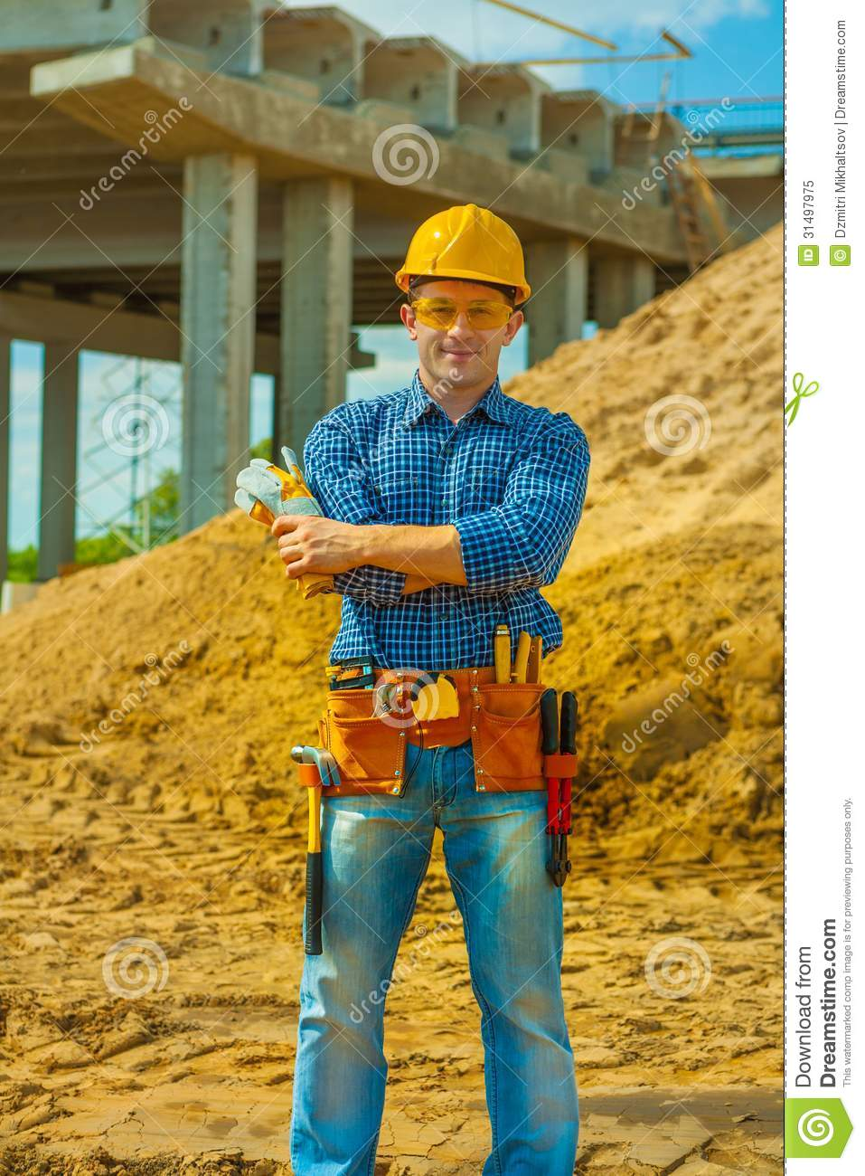Contractor on building place royalty free stock photo for Contractors needed to build a house