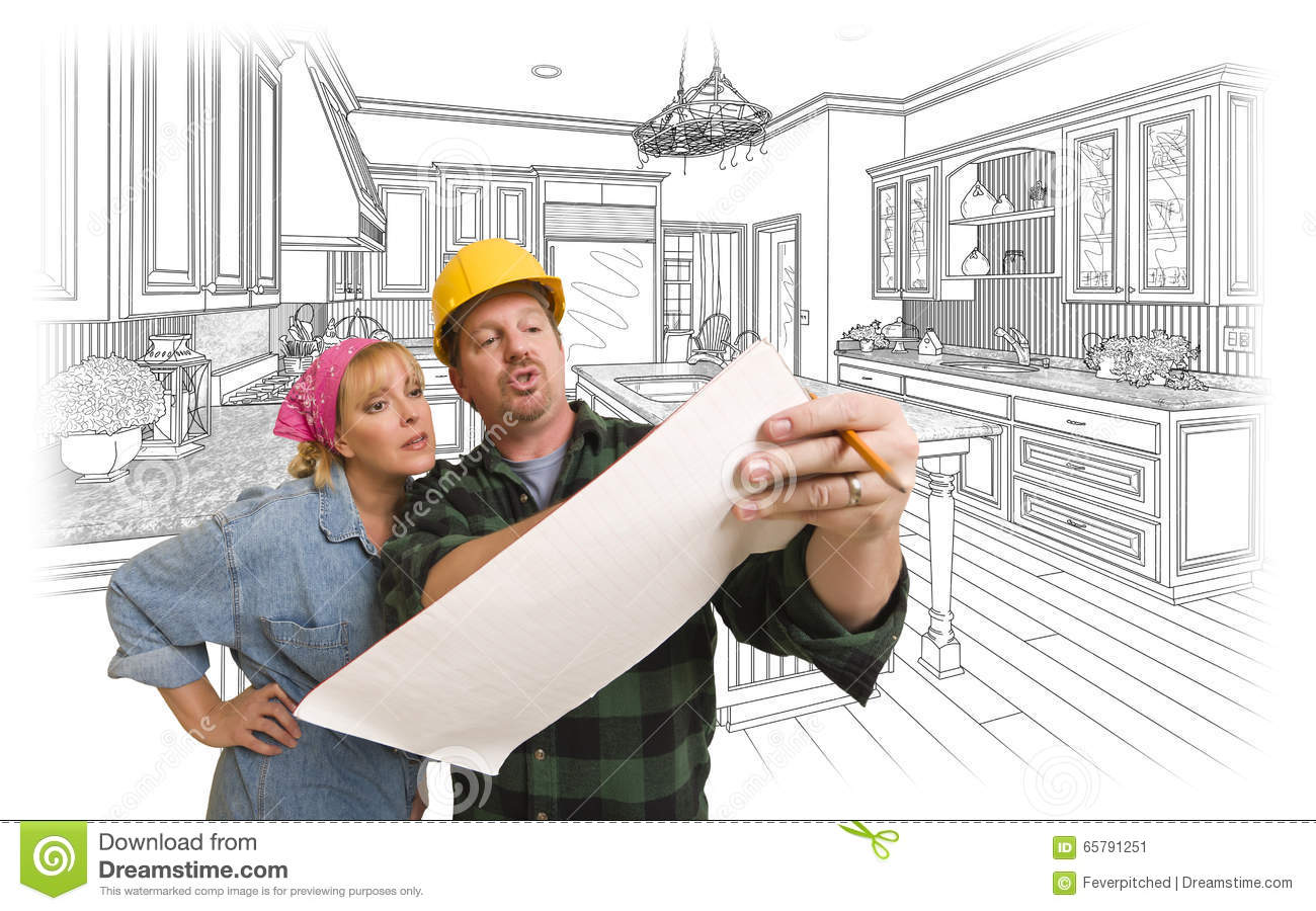 Contractor Discussing Plans with Woman, Kitchen Drawing Behind