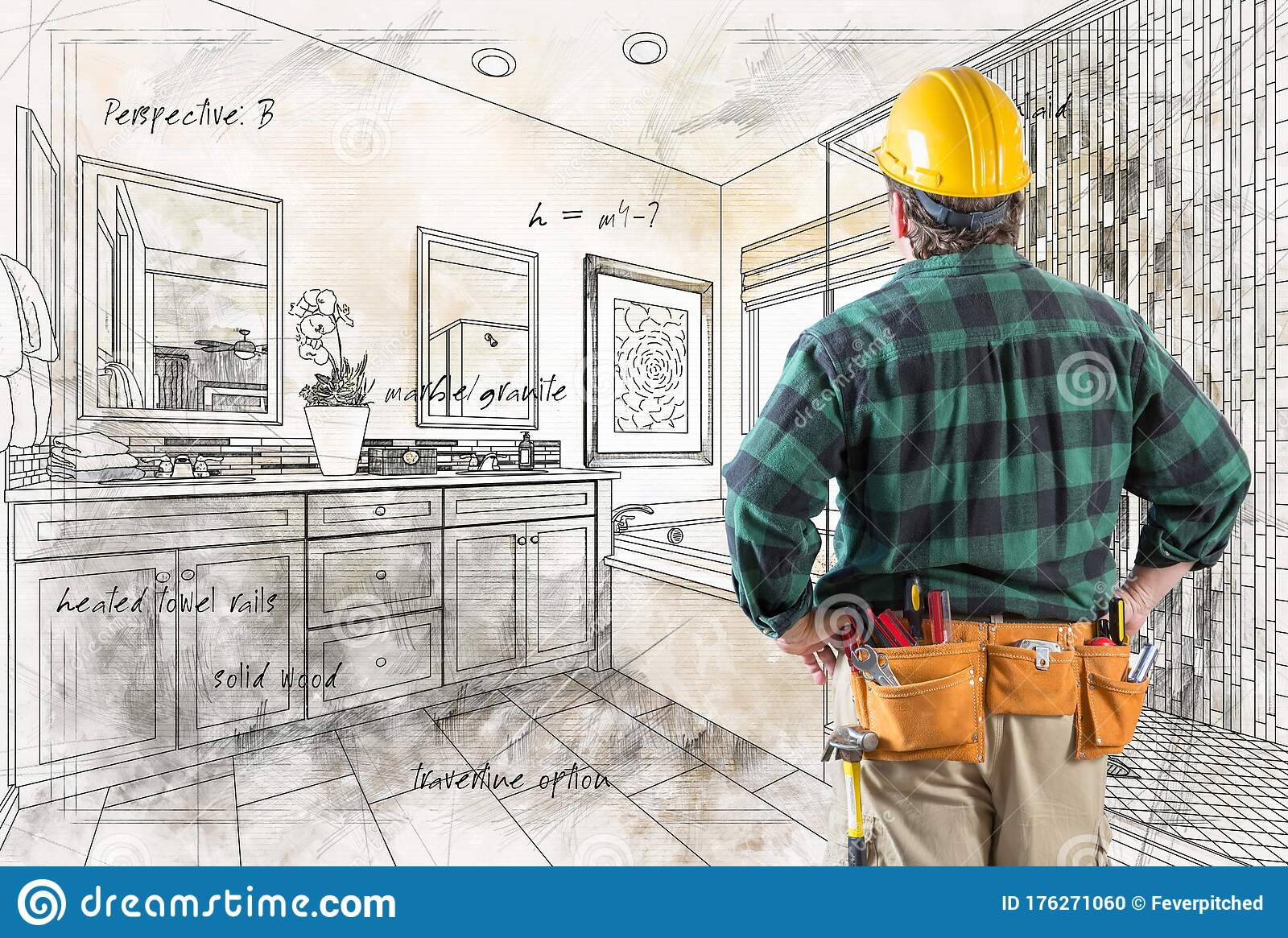 Contractor With Hard Hat And Tool Belt Facing Custom ...