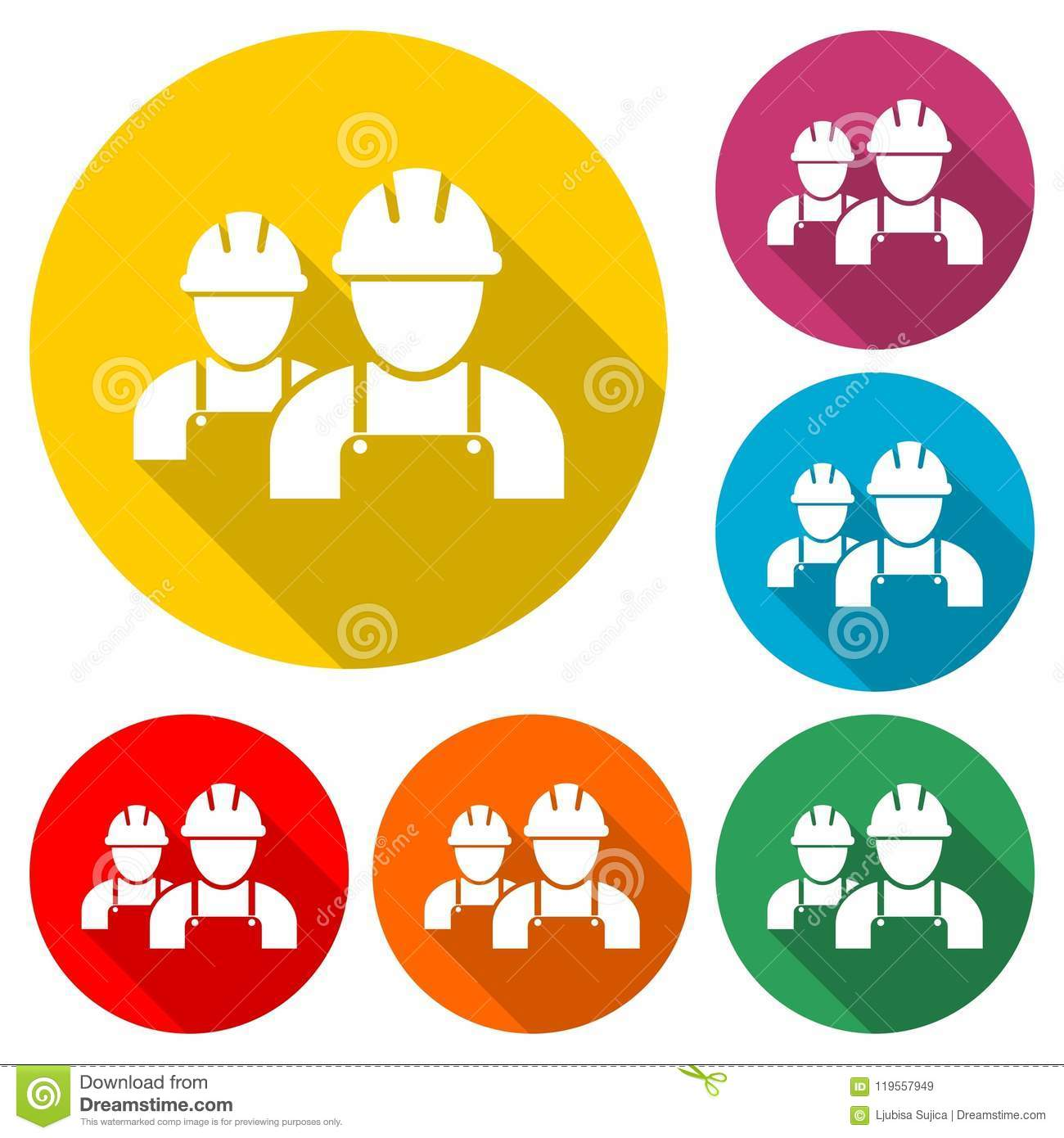 Contractor Icon Workers Icon Color Icon With Long Shadow Stock Vector Illustration Of Hardhat Service 119557949