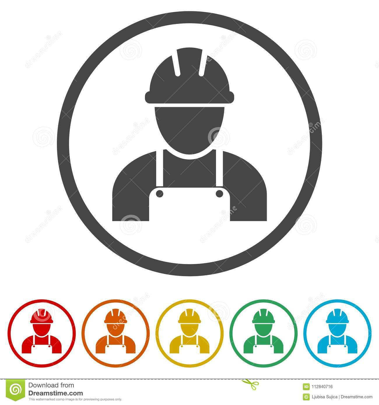 Contractor Icon Workers Icon 6 Colors Included Stock Vector Illustration Of Isolated Business 112840716