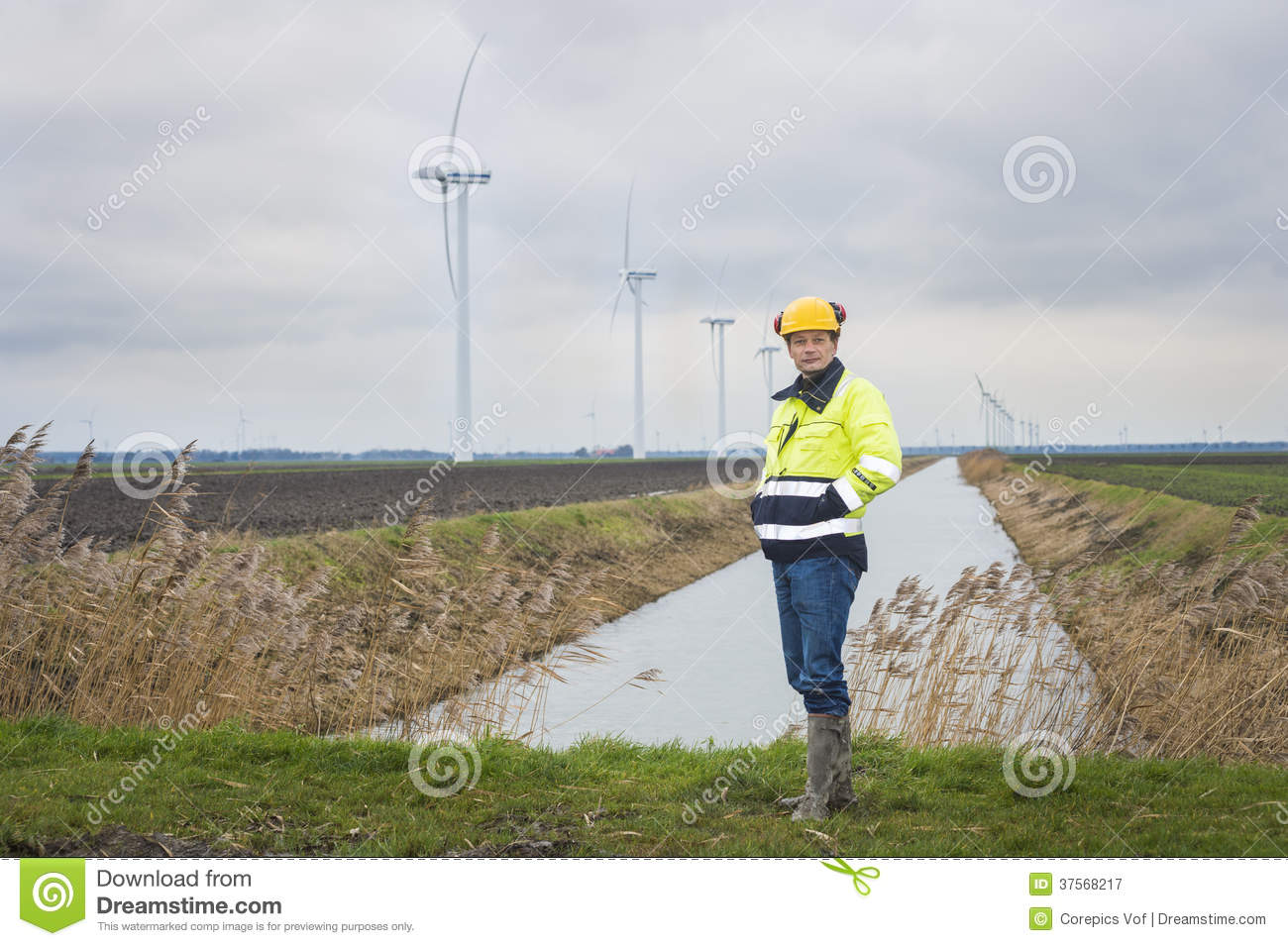 Contractor in a landscape royalty free stock photography for Gardening contractors