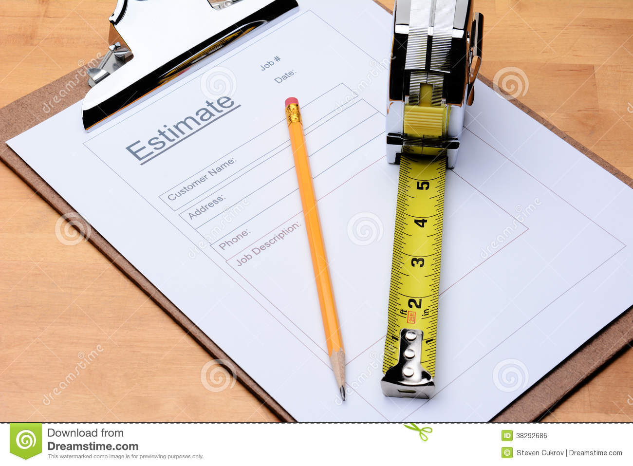 contractors estimate form royalty stock image image  contractors estimate form