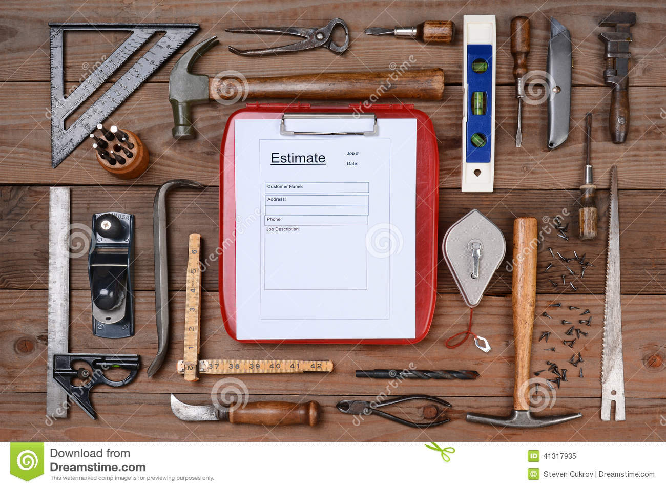 contractors estimate form surrounded by tools stock photo image contractors estimate form surrounded by tools