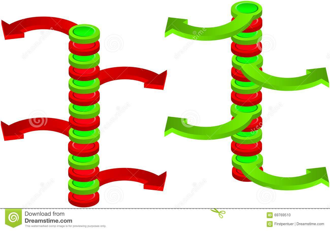 Contradictory Green And Red Spatial Vertical Arrows Stock ...