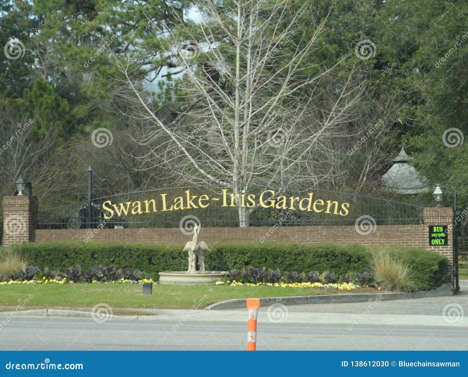 Contrassegno di Iris Gardens del lago swan