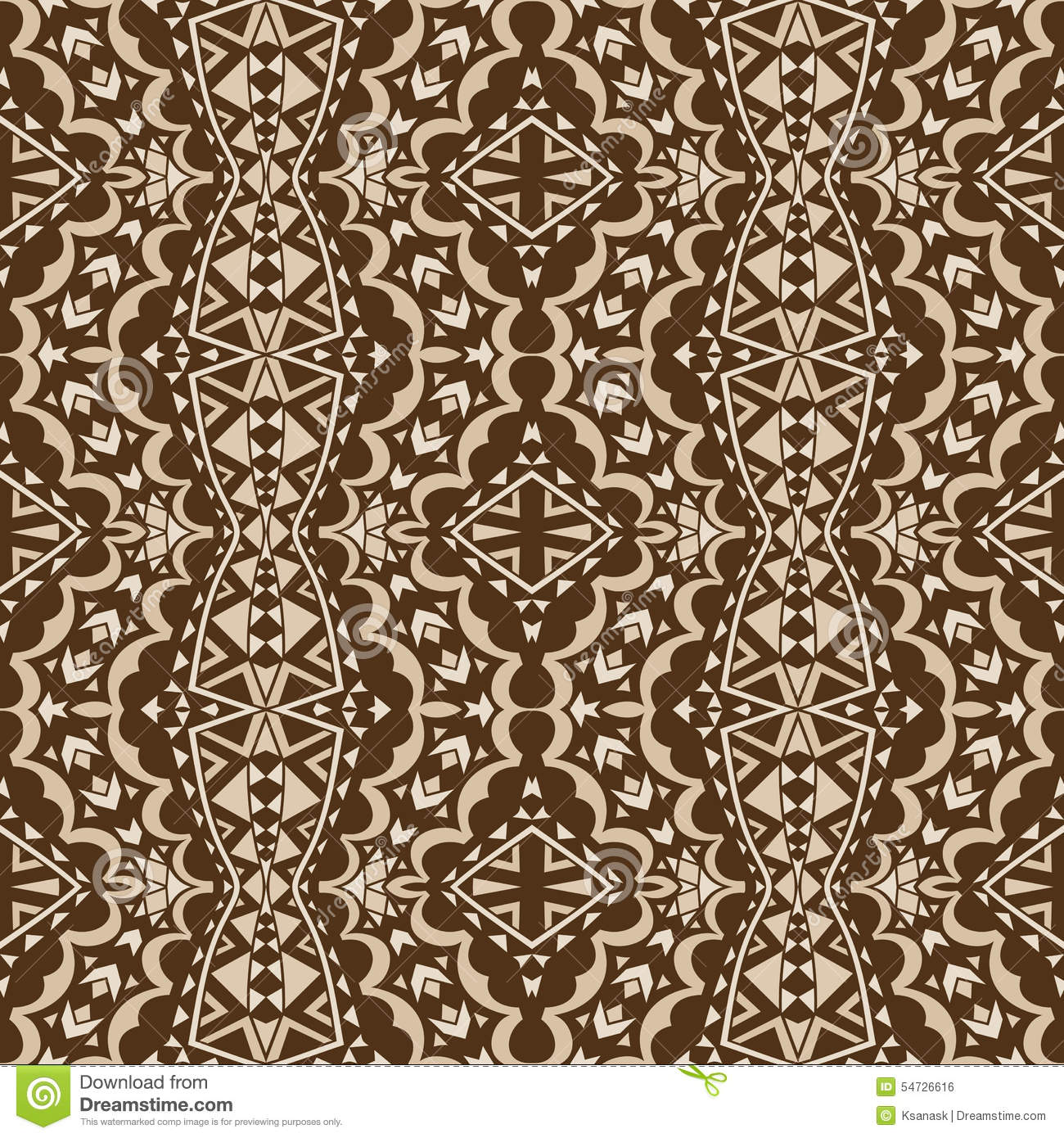 Contrast Brown Tribal Seamless Ornament Stock Vector