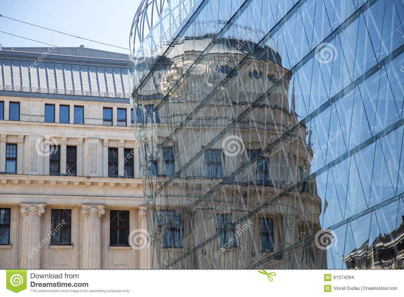 Contrast between old and new buildings stock photo image for Classic builders