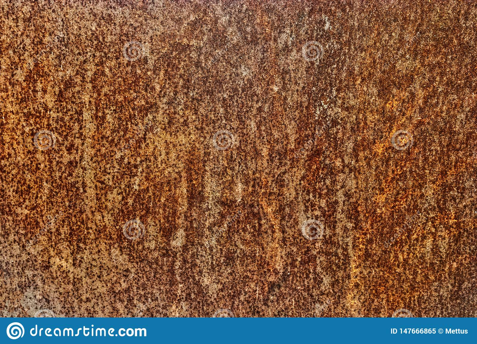 Contrast rust covering an iron sheet surface
