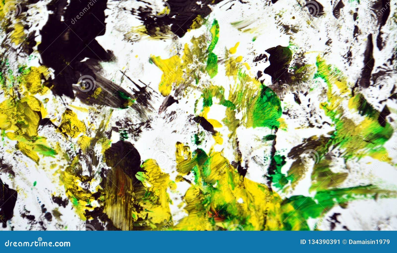 Contrastes amarelos brancos pretos, fundo da aquarela da pintura, fundo de pintura abstrato da aquarela